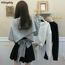 Bluzy damskie jednokolorowa kokarda bandaż z powrotem elegancka O-Neck wszystkie mecze słodka damska Plus rozmiar koreański styl cienki, na jesień modne bluzki