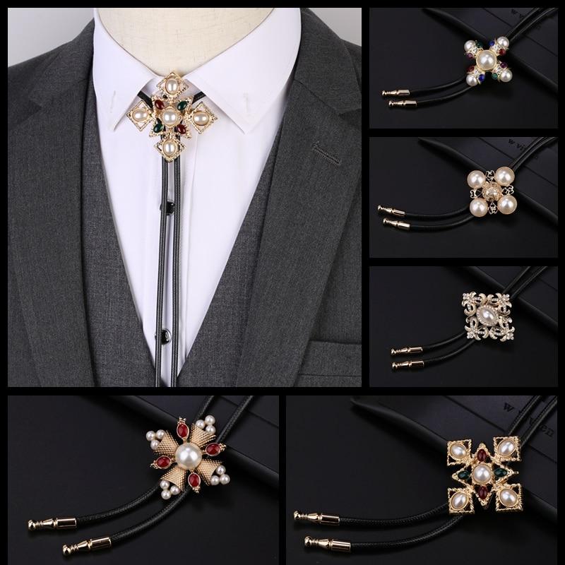 Hot Collar Rope Vintage Unique Bolo Tie Men's Gem Bow Tie Ties For Men Necklace Accessories Wedding Necktie