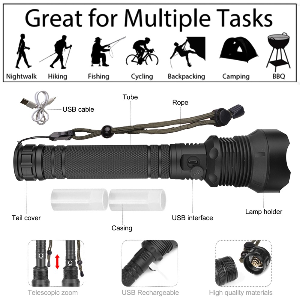 Outdoor High Lumens Torch Xhp50 Xhp70.2 Powerful Self Defense Flashlight Usb Zoom Led Torch 18650 Or 26650 Rechargeable Battery