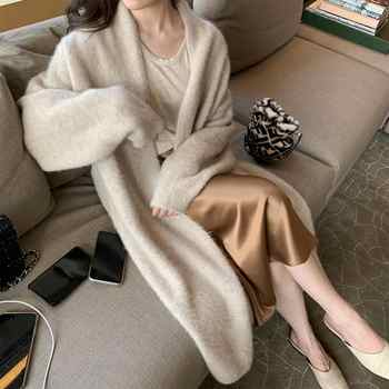Elegant Cashmere Sweater thick long warm Cardigan Women Winter Coat Knitted Fashion Sweaters  Cardigan - DISCOUNT ITEM  25% OFF All Category