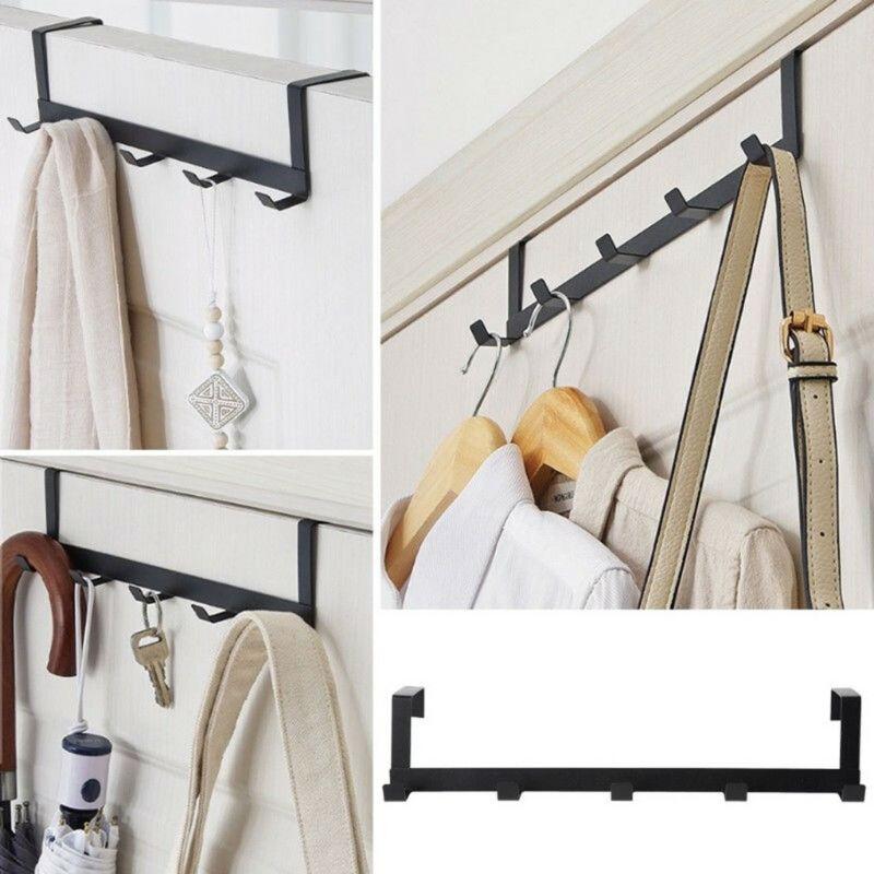Luxury 5 Hooks Hanger Towel Hat Coat Clothes Wall Hook Over Door Living Room Bathroom Hooks