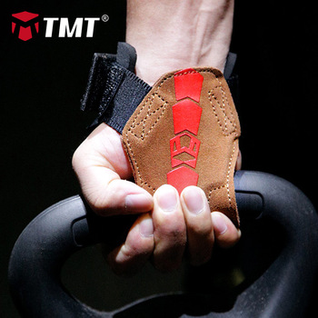 TMT Weight Lifting Palm Protector Wrist Wraps Support Hand Grips Gym Crossfit Training Gloves Pull Up Wristbands Fitness Barbell mounchain adjustable leather weight lifting fitness crossfit belt lifting strap support stainless lock jaw gym fitness guard