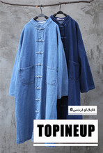 цена Women Long Sleeve Single Breasted Oversize Denim Trench Coat For Female Solid Color Warm Spring Autumn With Pockets Coat Vintage онлайн в 2017 году