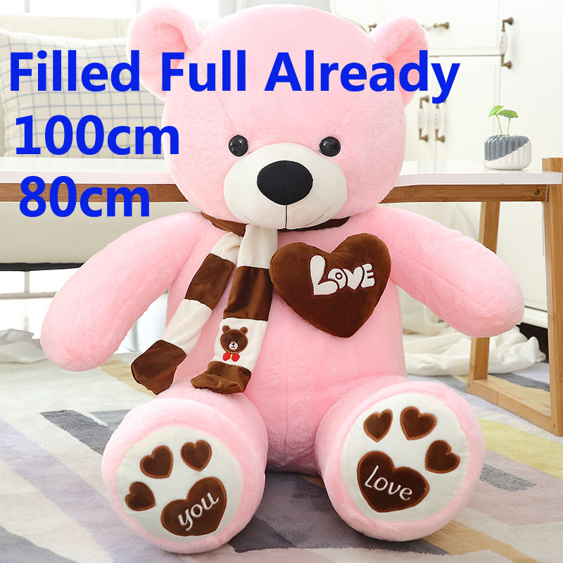 100cm 1m Giant size filled teddy bears With Scarf Stuffed Animals toy pink Large bear children birthday gift xmas Pillow Doll