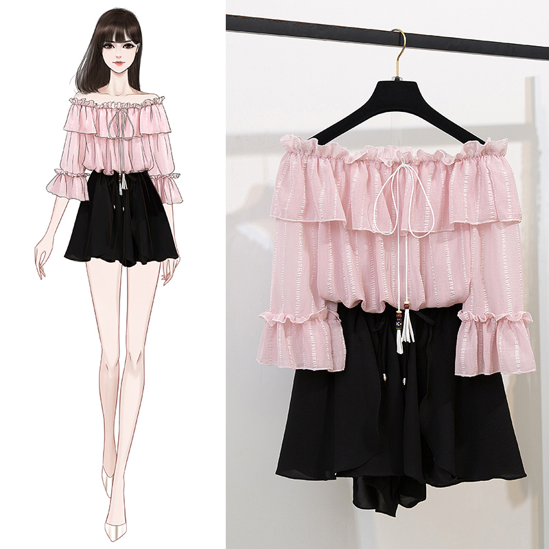 Summer Slash Neck Chiffon Cute Flare Sleeve Blouse Shirt Loose Casual Solid Shorts Two Piece Sweet Sets