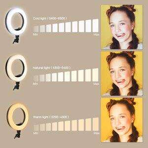 Image 4 - 18 cal fotograficzne LED lampa pierścieniowa z lekki statyw 5500K lampa do nagrań wideo cyfrowy oświetlenie fotograficzne