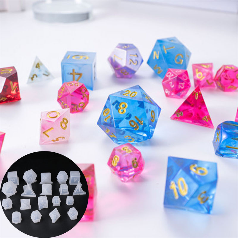 19pcs Dice Resin Mold Moulds Gamer-tools Dice Fillet Shape Multi-spec Silicone Mould Making
