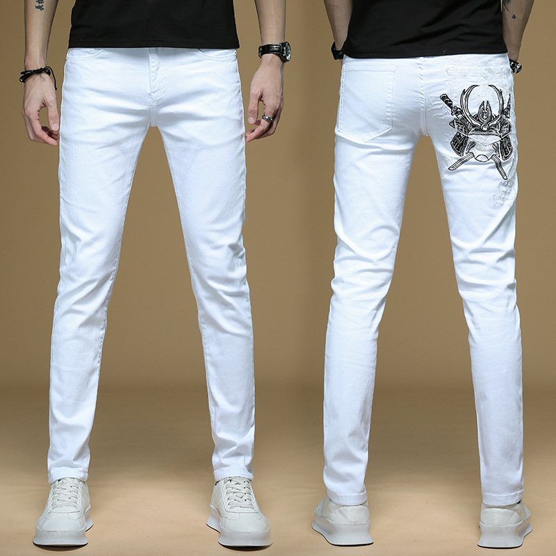 White Embroidered Jeans Men's Korean-style Slim Fit Popular Brand Embroidery Skinny Jeans Autumn Western Style Cool Fashion Pant