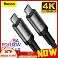 Baseus USB 3 1 Typ C auf USB Typ C Kabel für Samsung S9 S10 Xiaomi Quick Charge 4 0 PD 100W Schnelle Ladegerät HDMI Kabel für MacBook-in Handy-Kabel aus Handys & Telekommunikation bei
