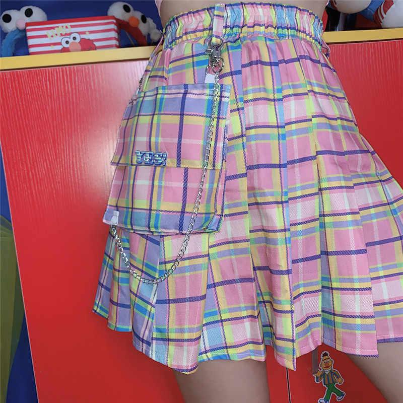 Flectit Rainbow Pastel Xadrez Saia De Carga com Chain & Bolso Plissadas Mini Saia de Grandes Dimensões para As Mulheres Harajuku Girls *