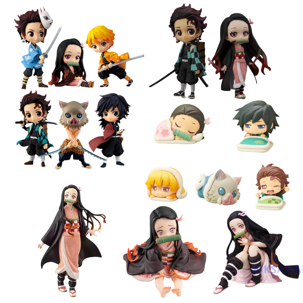 3Pcs Anime Demon Slayer Kimetsu no Yaiba Vol.1 Mini PVC figura de juguete