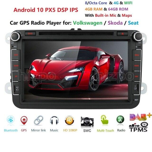 DSP IPS לרכב מולטימדיה נגן אנדרואיד 9.0 GPS 2 דין רכב Autoradio רדיו עבור פולקסווגן/פולקסווגן/גולף/פולו/פאסאט/b7/b6/מושב/ליאון/סקודה