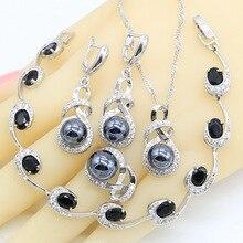 цена на Geometric Black Pearl 925 Silver Jewelry Sets For Women Earrings Rings Necklace Pendant Zircon Bracelet