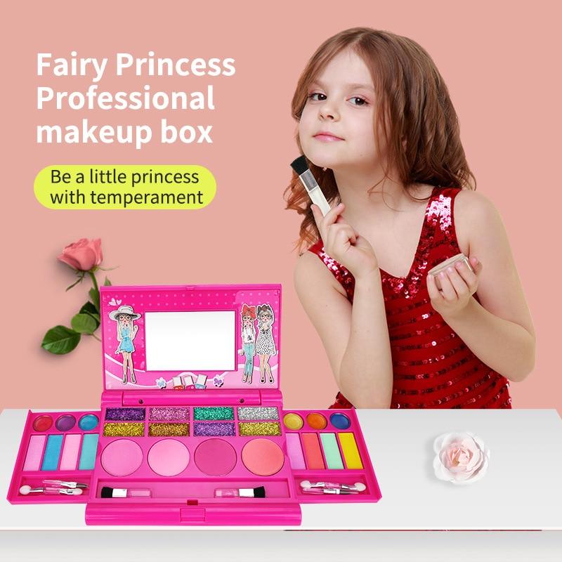 Детские игрушки для девочек, игрушки для макияжа для девочек, ролевая игра, коробка для косметики, тени для век, Увлажняющий блеск для губ, ру...