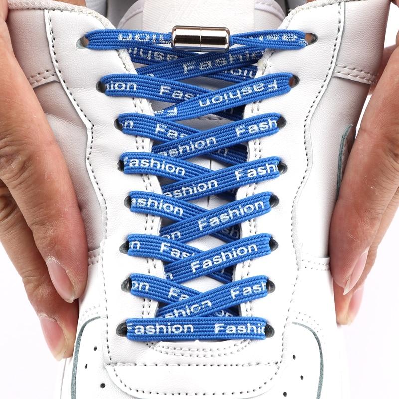 1Pair Elastic Locking Shoelaces Printed Letters Flats No Tie Shoelace Quick Sneakers Kids Adult Women Men Shoe Laces Strings