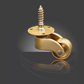 4/8 pcs Brass Universal Wheel Metal Casters Silent Reinforce Furniture Caster Heavy Duty Furniture Casters 1.81 x 2.40 (W x H)