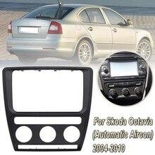 Painel de rádio traço placa fascia quadro para skoda octavia (automático aircon) 2004-2010 áudio dvd estéreo cd painel
