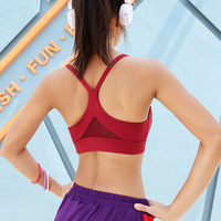 New Autumn new lady bra sexy beauty back mesh stitching with no rims fitness underwear vest