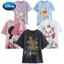 Disney Cute Mickey Mouse Cartoon Print O-Neck Pullover Short Sleeve White Chic T-Shirt Casual Fashion Women Loose Tee Tops