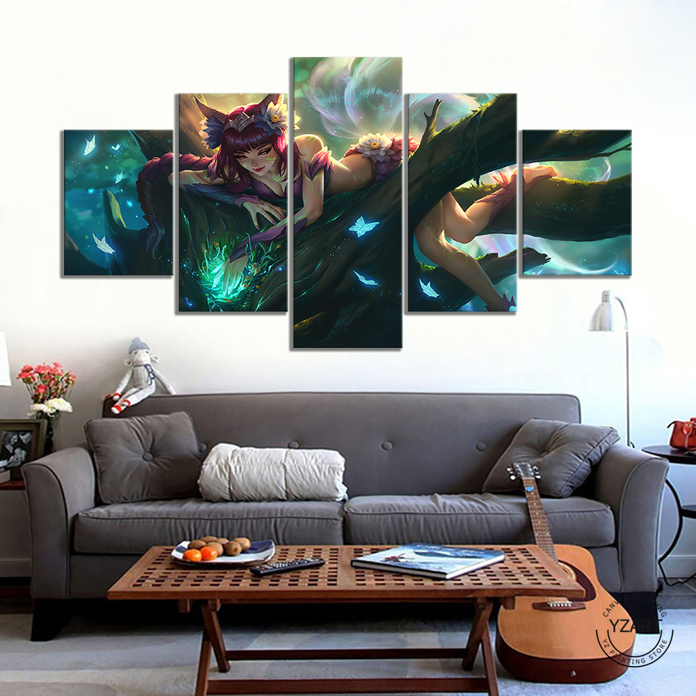 League of Legends the Nine-Tailed Fox Ahri HD Game Poster Wall Picture Canvas Paintings for Bedroom Decor 1