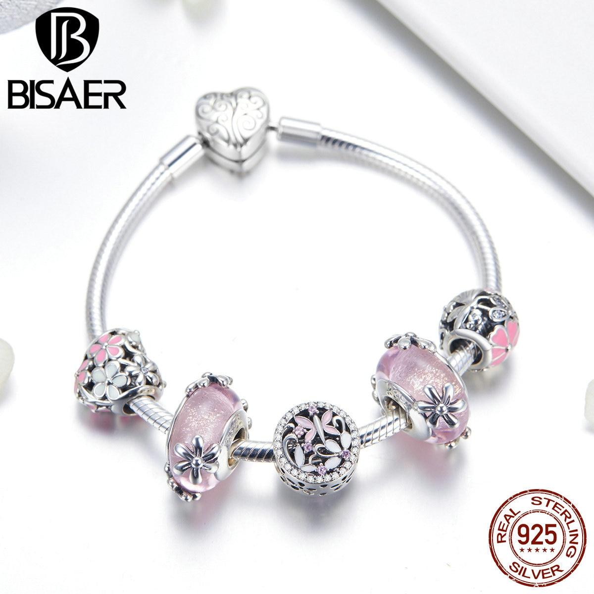 BISAER браслеты в форме сердца, 925 пробы, серебряный, розовый, Маргаритка, персик, цветок, сердце, женские браслеты для женщин, серебро 925, ювелирн...