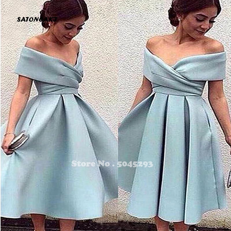 SATONOAKI New Arrival Light Blue Cocktail Dress Off The Shoulder Tea Length Short Party Dresses High Quality Homecoming Dresses