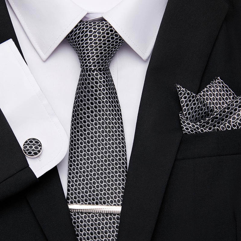 20 Style For Men Wedding Business Party 7.5cm Suit Tie Men Tie 100%Silk Classic Tie Handkerchief Cufflinks Tie Clips Set  12601