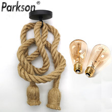 Lámpara colgante de cuerdas de cáñamo para decoración del hogar, bombilla LED E27, Industrial, Retro, AC90-260V