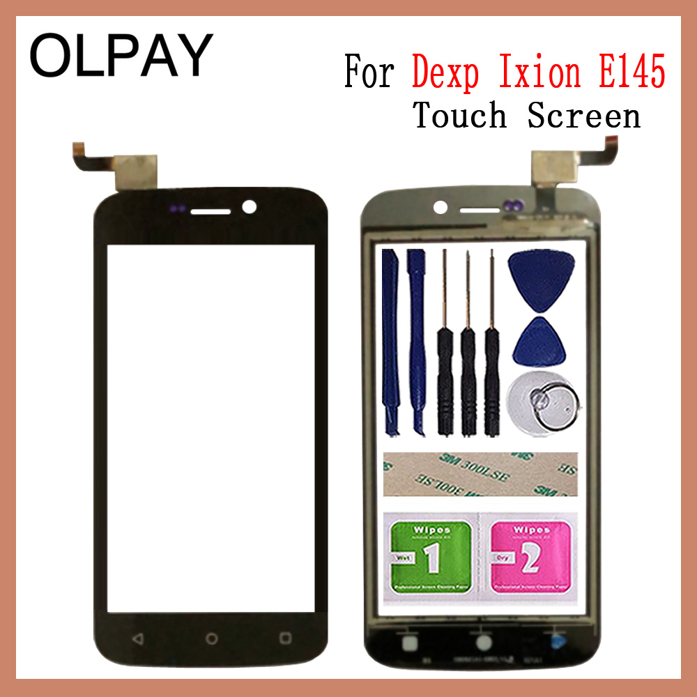 OLPAY 4.5'' Mobile Phone Touch Screen Digitizer For Dexp Ixion E145 Touch Glass Sensor Tools Free Adhesive And Wipes