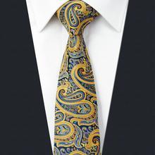 UZ13 Пейсли желтый мужской тонкий галстук шелковый Модные Узкие галстуки 6 см новые свадебные