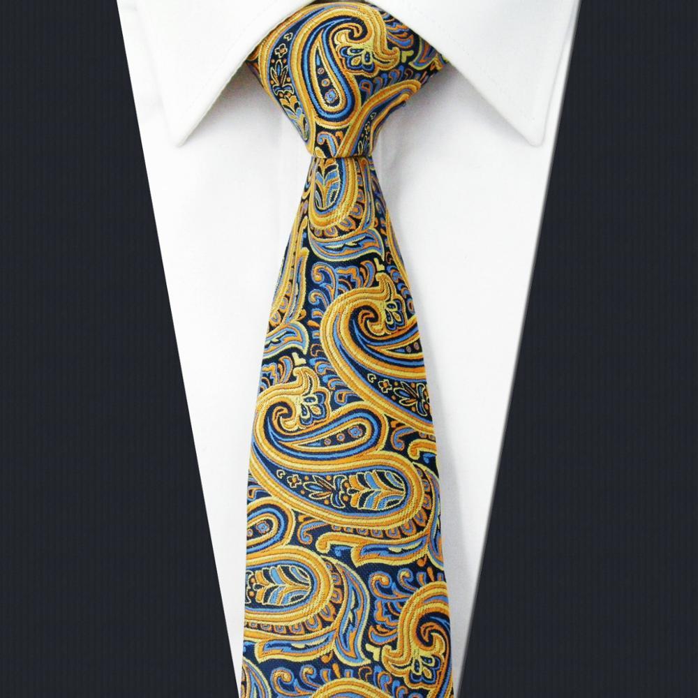 UZ13 Paisley Yellow Mens Slim Necktie Silk Fashion Skinny Ties 6cm New Wedding