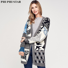 Phi Star Brand Womens New Fashionable Long Sleeve Jacquard Knitted Sweater Coat Cardigan