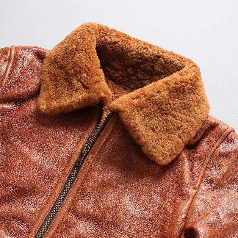 Marka duże rozmiary naturalna skóra owcza kurtka męska Super jakość ciepłe płaszcze z wełny strzyżonej Avirex Fly Bomber wojskowy futro kurtka G1