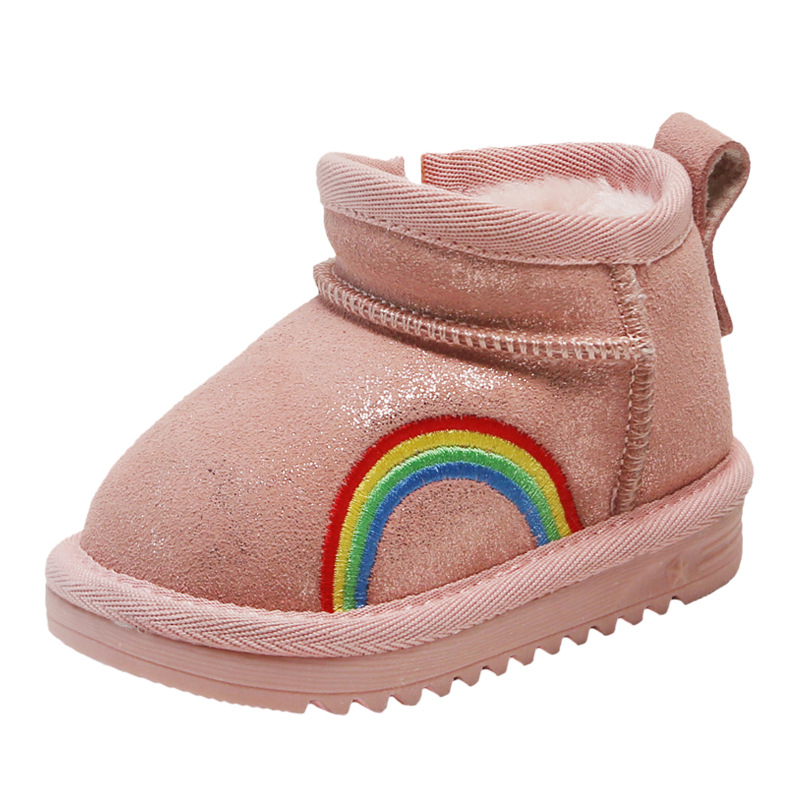 Microfiber Rainbow Baby Girls Snow Boots Boy Fashion Children Shoes Kid Winter First Walkers Prewalkers High Quality Thick Plush