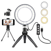 LED Ring Light with Tripod Stand for YouTube Video and Makeup 3 Light Modes & 11 Brightness Level LED Desktop Lamp