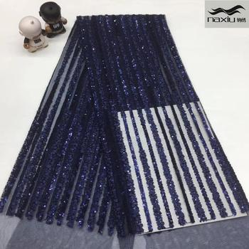 Madison African Sequins Lace Fabrics 2020 High Quality French Lace Fabric Nigerian Tulle Lace Fabrics For Wedding Dress