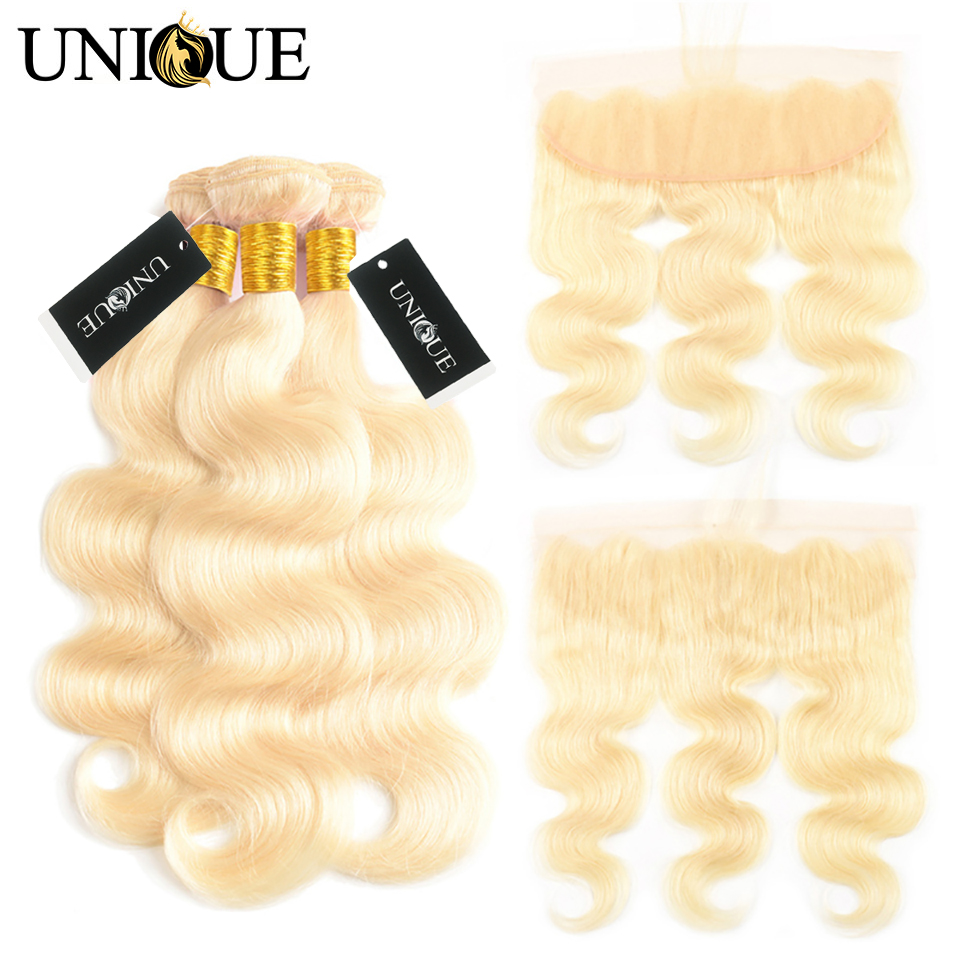 Blonde 613 Bundles With Frontal 4Pcs/Lot Yolissa Hair Brazilian Body Wave 12-24 Inch 100% Human Hair Bundles with LaceFrontal image