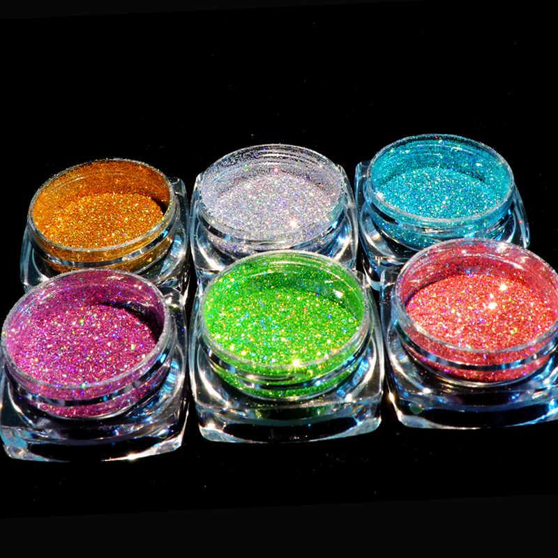 Poudre holographique sur les ongles Laser argent paillettes Chrome Art des ongles Pigment Gel scintillant vernis flocons pour manucure