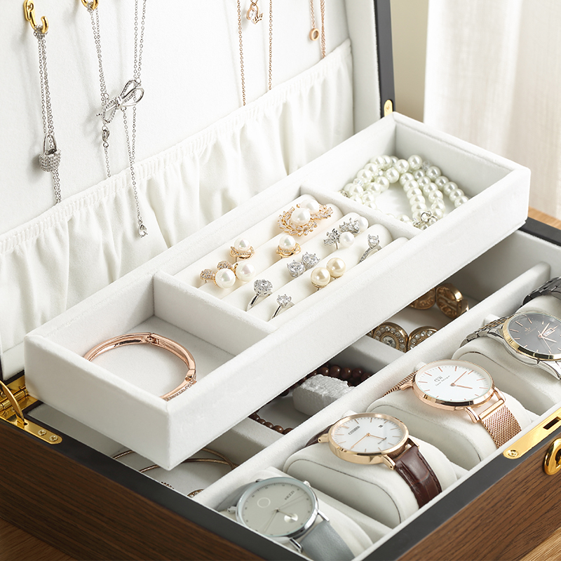 Casegrace Luxury Wooden Jewelry Box Organizer Women Large Ring Necklace Earrings Jewellery Storage Case Gift Casket