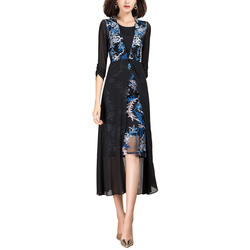 2021 Spring New Fashion Casual 2 Pieces Set Chiffon Trench & Sleeveless Dress Matching Clothing for Women