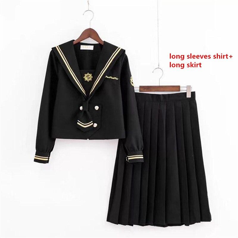 Anime JKs uniforme jupes chandail Sweatshirts Cardigan Cosplay Costumes noir étudiant costume