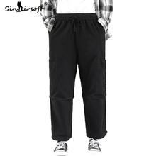 Free Shipping Mens Drawstring Waist Ankle-Length Wide Leg Pants Loose Male Big Pocket Cargo 2019 Autumn Fashion Trousers