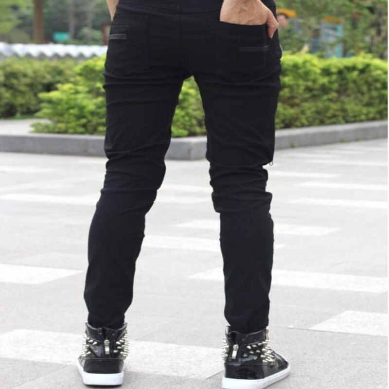 2020 New Arrival Spring Fashion Mens Punk Skinny Pants For Man Cool Cotton Casual Pants Zipper Slim Fit Black Goth Trousers