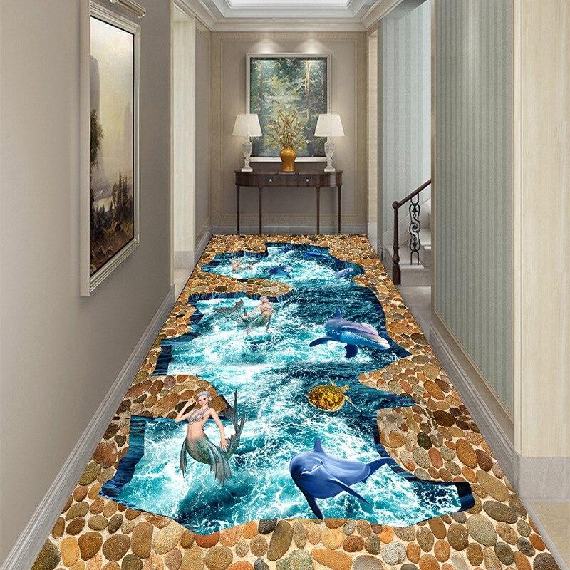 3D Dolphin Mermaid Corridor Mat Doormat Bedroom Kitchen Rugs Kids Room Play Mat Bedside Area Rug Pastoral Carpet For Living Room