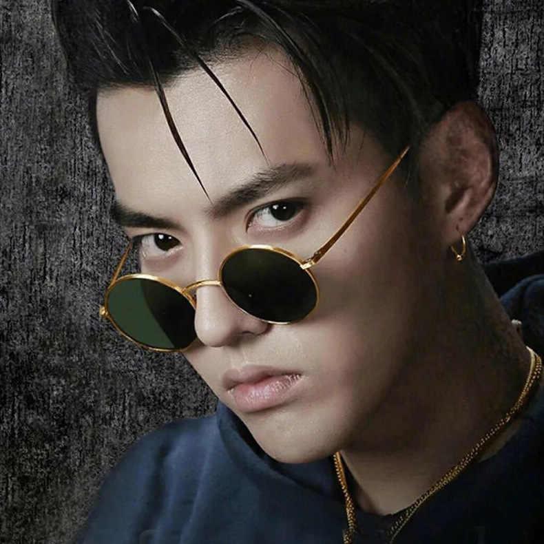 Wu Yifan-güneş gözlüğü moda metal gözlük yuvarlak çerçeve Retro güneş gözlüğü erkekler ve kadınlar Trend serin güneş gözlüğü