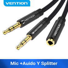Vention Audio Splitter Headphone Adapter 3.5mm AUX Cable for Computer 1 Female to 2 Male Mic Y Splitter Headset to PC Adapter