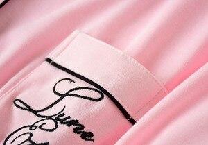 Image 5 - סתיו נשים גלימות הלבשת כותנה ארוך כתונת לילה מכתב רקמה סרוג מוצק חלוק חלוק רחצה Batas דה Dormir Mujer
