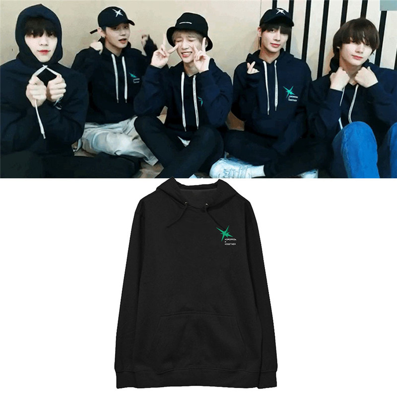 KPOP  TXT MAGIC Album Hoodie Hip Hop Casual Oversized Loose Hooded Clothes Pullover Printed Long Sleeve Sweatshirts WY1219