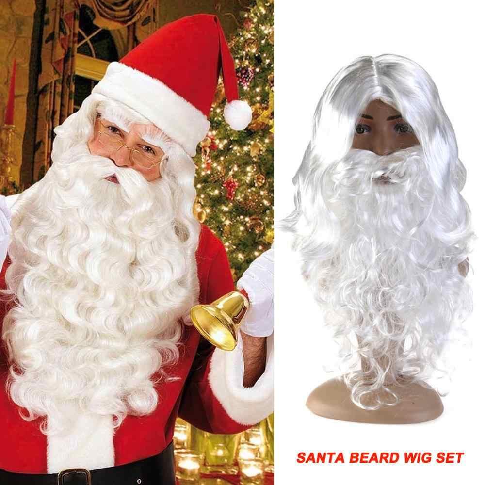 Seda de luxo branco santa fantasia vestido traje wizard peruca e barba conjunto 40cm natal dia das bruxas decoração do ano novo