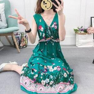 Image 4 - Винтажное женское богемное платье, элегантное пляжное платье Бохо с принтом, новинка 2020, модное свободное платье без рукавов с цветочным рисунком
